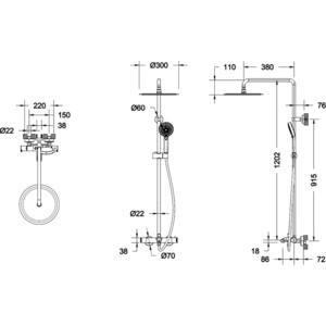 Душевая система Bravat Waterfall SS с термостатическим смесителем для ванны (F639114C-A5-RUS)