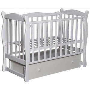 Кровать детская Антел Северянка 2 автостенка, ящик, маятник поперечного качания (белая) Северянка 2_белая