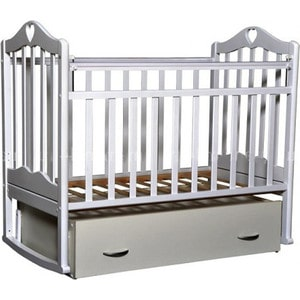Кровать детская Антел Каролина (6), маятник (продольного качания), закрытый ящик белый Каролина-6 белый