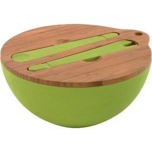 Миска для салата BergHOFF с крышкой и инструментами для сервировки 25 см 3.6 л CooknCo (2800049) трикси миска керамическая кошка 0 25 л ф 13 см белая