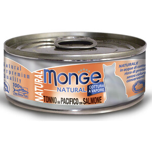 Консервы Monge Cat Natural Pacific Tuna with Salmon с тихоокеанским тунцом и лососем для кошек 80г