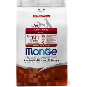 Сухой корм Monge Speciality Line Adult Dog Mini Lamb, Rice and Potatoes с ягненком, рисом и картофелем для взрослых собак мелких пород 800г сухой корм happy dog mini adult 1 10kg neuseeland lamb
