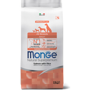 Сухой корм Monge Speciality Line Adult Dog All Breed Salmon and Rice с лососем и рисом для собак всех пород 2,5кг acana acana wild pacifica dog all breeds wild caught fish для собак всех пород и возрастов на основе рыбы 2 кг