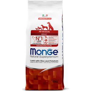 Сухой корм Monge Speciality Line Adult Dog All Breed Lamb, Rice and Potatoes с ягненком, рисом и картофелем для собак всех пород 12кг сухой корм happy dog supreme sensible adult 11kg neuseeland lamb
