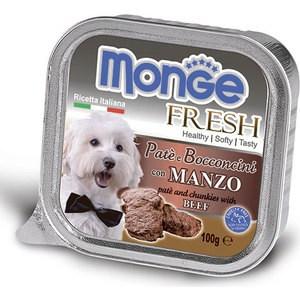 Консервы Monge Dog Fresh Pate and Chunkies with Beef паштет и кусочки с говядиной для собак 100г monge корм для собак monge monoproteico solo паштет оленина конс 150г