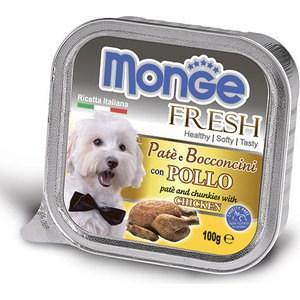 Консервы Monge Dog Fresh Pate and Chunkies with Chicken паштет и кусочки с курицей для собак 100г monge корм для собак monge monoproteico solo паштет оленина конс 150г
