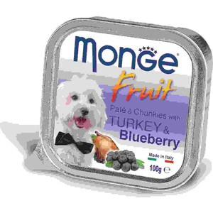 Консервы Monge Dog Fruit Pate and Chunkies with Turkey & Blueberry паштет и кусочки с индейкой и черникой для собак 100г monge корм для собак monge monoproteico solo паштет оленина конс 150г