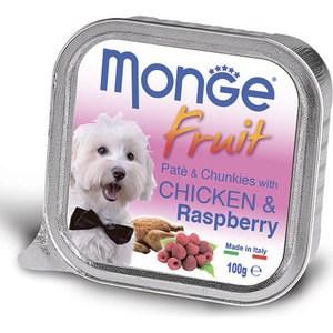 Консервы Monge Dog Fruit Pate and Chunkies with Chicken & Raspberry паштет и кусочки с курицей и малиной для собак 100г monge корм для собак monge monoproteico solo паштет оленина конс 150г
