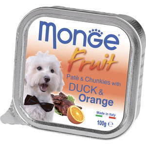 Консервы Monge Dog Fruit Pate and Chunkies with Duck & Orange паштет и кусочки с уткой и апельсином для собак 100г майка print bar orange fruit