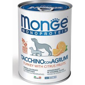 Консервы Monge Dog Monoproteico Fruits Pate Turkey, Rice & Citrus паштет из индейки с рисом и цитрусовыми для собак 400г monge корм для собак monge monoproteico solo паштет оленина конс 150г