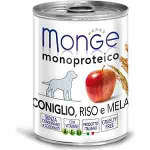 Консервы Monge Dog Monoproteico Fruits Pate Rabbit, Rice & Apple паштет из кролика с рисом и яблоками для собак 400г
