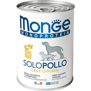 Консервы Monge Dog Monoproteico Solo Pate Chicken паштет из курицы для собак 400г monge корм для собак monge monoproteico solo паштет оленина конс 150г