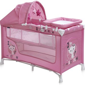 Манеж Lorelli NANNY 2 PLUS Rocker Розовый / Pink Kitten 1612