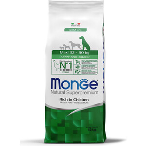цена на Сухой корм Monge Daily Line Puppy and Junior Maxi Rich in Chicken с курицей для щенков крупных пород 12кг