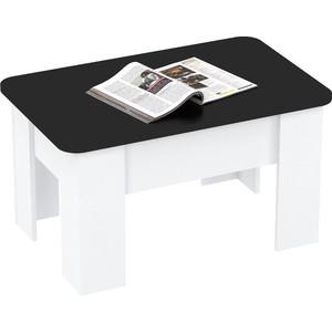 Стол трансформер ВасКо СТ8005 белый/черный журнальный стол трансформер обеденный васко ст 80 05 белый глянец черный глянец белая кромка