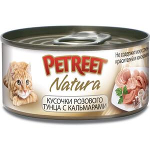 Консервы Petreet Natura кусочки розового тунца с кальмарами для кошек 70г консервы petreet natura кусочки розового тунца с сельдереем для кошек 70г