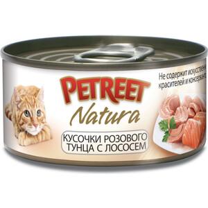 Консервы Petreet Natura кусочки розового тунца с лососем для кошек 70г petreet natura tonno rosa con calamari