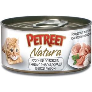 Фото - Консервы Petreet Natura кусочки розового тунца с рыбой дорада для кошек 70г консервы monge gemon cat pouch sterilised для стерилизованных кошек кусочки тунца с рыбой дори 100 г