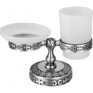Держатель мыльницы и стакана настольный ZorG Antic серебро (AZR 22 SL)