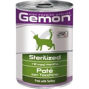 Консервы Gemon Cat Sterilised Pate with Turkey с индейкой паштет для стерилизованных кошек 400г консервы gemon cat sterilised для стерилизованных кошек паштет с индейкой 100 г