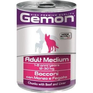 Консервы Gemon Dog Adult Medium Chunks with Beef and Liver с говядиной и печенью для собак средних пород 415г