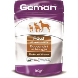 Паучи Gemon Dog Adult Chunkies with Wild Game с дичью кусочки для собак 100г вилли хвост влажный корм вилли хвост для собак с дичью 1 230 кг
