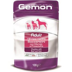 Паучи Gemon Dog Adult Chunkies with Beef and Ham с говядиной и ветчиной кусочки для собак 100г