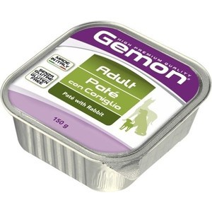 Фотография товара консервы Gemon Dog Adult Pate with Rabbit с кроликом паштет для собак 150г (676529)
