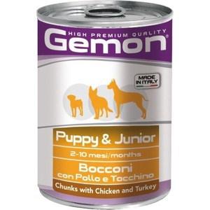 Консервы Gemon Puppy Chunks with Chicken and Turkey с курицей и индейкой кусочки для щенков 415г