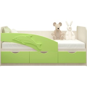 Кровать Миф Дельфин дуб беленый/салатовый ПВХ 1,6 м