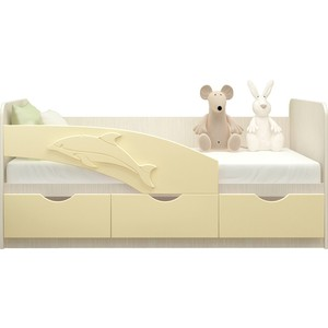 Кровать Миф Дельфин дуб беленый/ваниль ПВХ 1,6 м