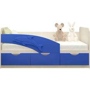 Кровать Миф Дельфин дуб беленый/синий ПВХ 1,6 м