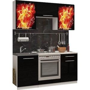 Кухня Миф Огненный цветок, 1.6м с фотопечатью