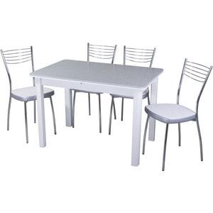 Обеденная группа стол с камнем + 4 стула Домотека Альфа №1