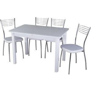 Обеденная группа стол с камнем + 4 стула Домотека Альфа №2