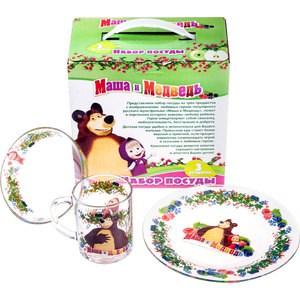 Набор посуды для детей 3 предмета МФК-профит Маша и Медведь Малина (9559007)