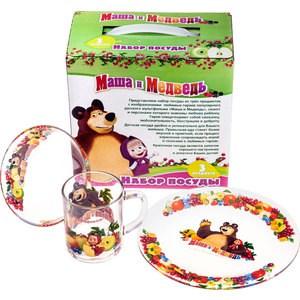 Набор посуды для детей 3 предмета МФК-профит Маша и Медведь Фруктовая корзина (9559005)
