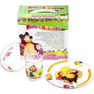 Набор посуды для детей 3 предмета МФК-профит Маша и Медведь Цитрусовый (9559008)