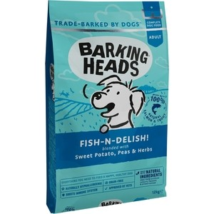 Сухой корм BARKING HEADS Adult Dog Fish-n-Delish Grain Free Salmon &Trout беззерновой с лососем, форелью и бататом для собак 18кг (1220/18161)