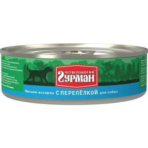 Консервы Четвероногий гурман Мясное ассорти с перепёлкой для собак 100г