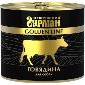 Консервы Четвероногий гурман Golden Line говядина для собак 500г четвероногий гурман консервы сосиски йоркширские для собак 240 г