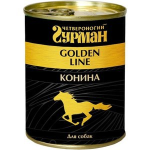 Консервы Четвероногий гурман Golden Line конина для собак 340г четвероногий гурман консервы сосиски йоркширские для собак 240 г