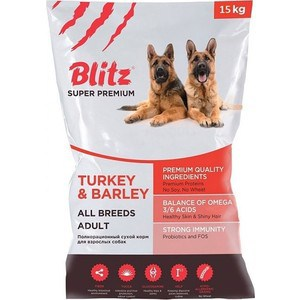 Сухой корм Blitz Petfood Superior Nutrition Adult Dog All Breeds with Turkey & Barley с индейкой и ячменем для взрослых собак всех пород 15кг x96 italy iptv germany iptv box with android box 6 0 4k amlogic smart tv 3000 albania french turkey uk adult set top box