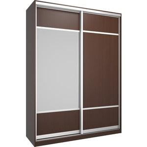 Шкаф Премьер Бостон 1600 Бук Тироль Шоколадный ДСП+Зеркало