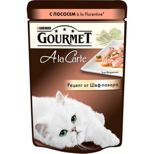 Паучи Gourmet A la Carte с лососем Florentine рецепт от шеф-повара для кошек 85г (12242394) gourmet a la carte пауч для кошек домашняя птица с овощами 85 г