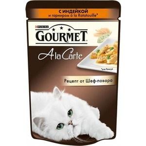 Паучи Gourmet A la Carte с индейкой и гарниром Ratatouille рецепт от шеф-повара для кошек 85г (12242389) gourmet a la carte пауч для кошек домашняя птица с овощами 85 г