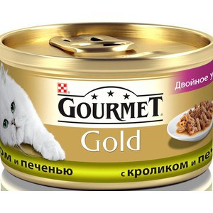 Консервы Gourmet Gold двойное удовольствие кусочки в соусе с кроликом и печенью для кошек 85г (12032395) консервы gourmet gold паштет с кроликом для кошек 85г 12182548