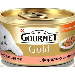 Консервы Gourmet Gold кусочки в соусе с форелью и овощами для кошек 85г (12109500) цена