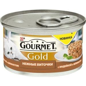 Консервы Gourmet Gold нежные биточки с индейкой и шпинатом для кошек 85г (12296406)