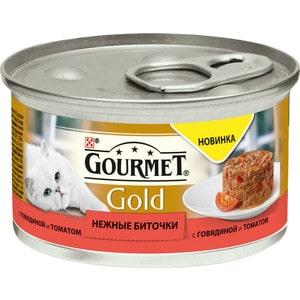 Консервы Gourmet Gold нежные биточки с говядиной и томатом для кошек 85г (12296420) корм для кошек gourmet gold нежные биточки ягненок фасоль конс 85г